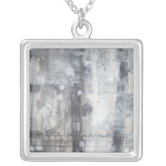 Contemporary Grey Painting Silver Plated Necklace