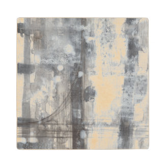 Contemporary Grey Painting Wood Coaster