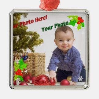 Contemporary Holly Christmas Photo Ornament