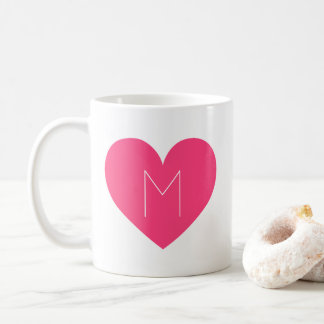 Contemporary Hot Pink Heart Monogram Mug
