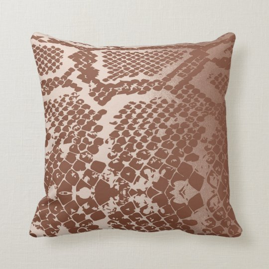 Contemporary Ivory Brown Pastel Snake Python Skin Throw