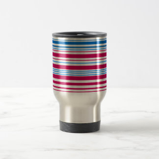 Contemporary light blue pink and white stripes stainless steel travel mug