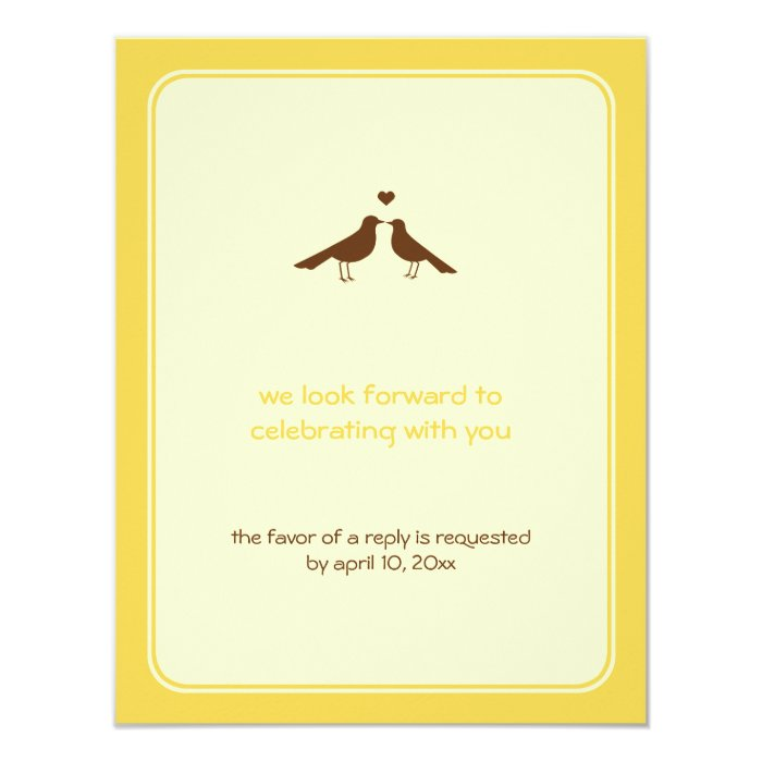 Contemporary love birds yellow wedding response 11 cm x 14 cm invitation card
