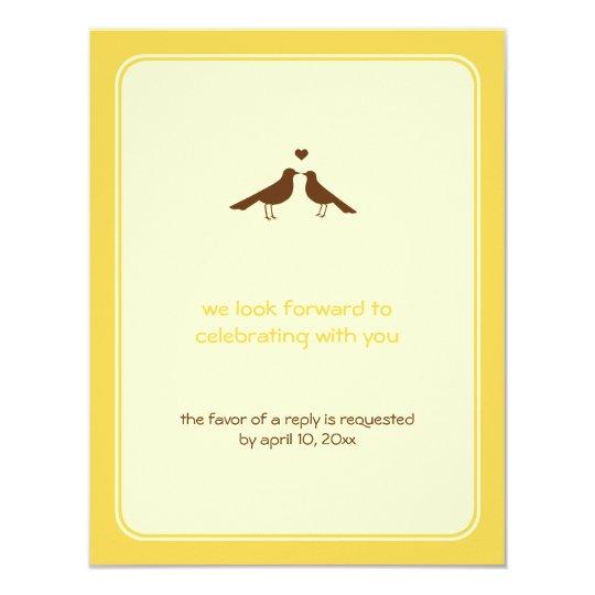 Contemporary love birds yellow wedding response card