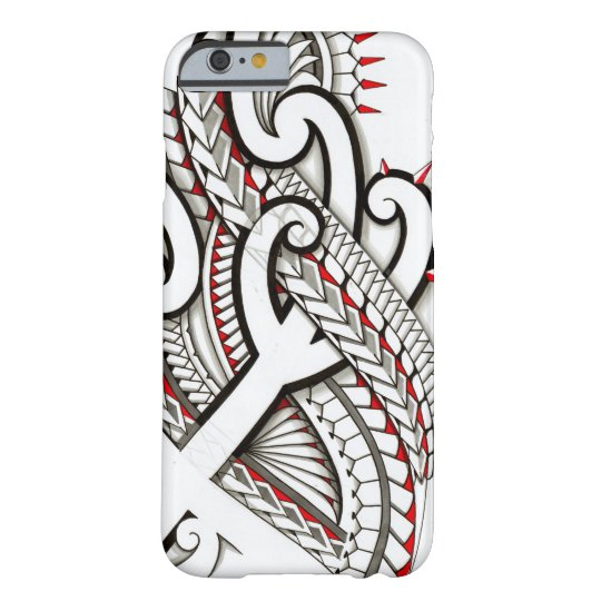Contemporary Maori tribal design with red accents Barely