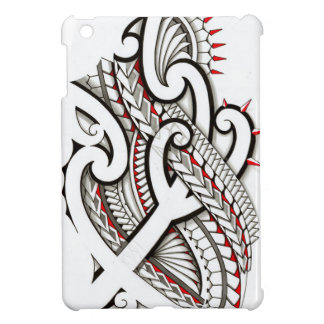 Contemporary Maori tribal design with red accents iPad Mini Covers
