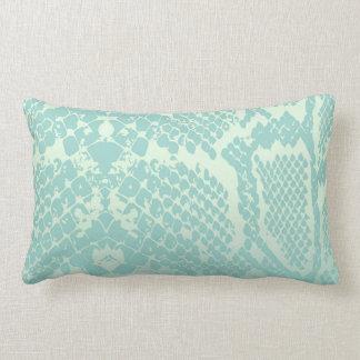 Contemporary Mint Green Ivory Snake Python Skin Lumbar Pillow