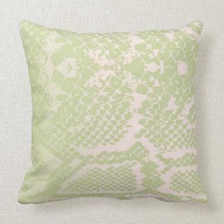 Contemporary Mint Green Ivory Snake Python Skin Throw Pillow