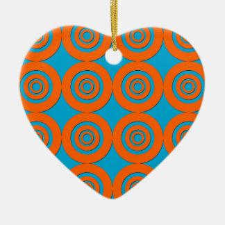 Contemporary Modern Design Orange Blue Circles Ceramic Heart Decoration