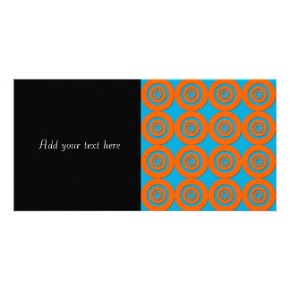 Contemporary Modern Design Orange Blue Circles Customised Photo Card