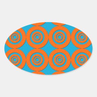 Contemporary Modern Design Orange Blue Circles Sticker
