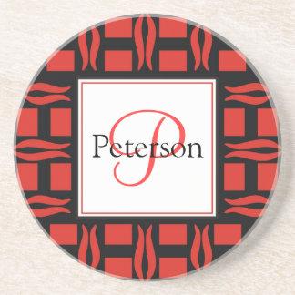 Contemporary Monogram Wedding Beverage Coaster