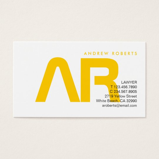Contemporary Monogram Yellow White Business Card