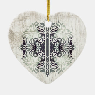 Contemporary Neutral Celtics Cross Hip Pattern Ceramic Heart Decoration