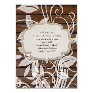 Contemporary Nostalgia Wood Floral Wedding Invite