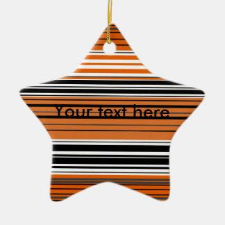Contemporary orange and black horizontal stripes christmas tree ornaments