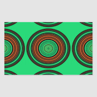 Contemporary orange and green circles rectangular sticker