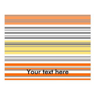 Contemporary orange and yellow horizontal stripes postcards