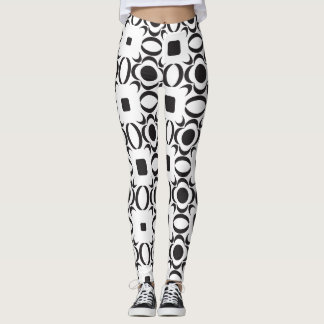 Contemporary Pattern Black and White Leggings