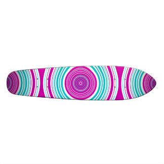 Contemporary pink and baby blue circles custom skateboard