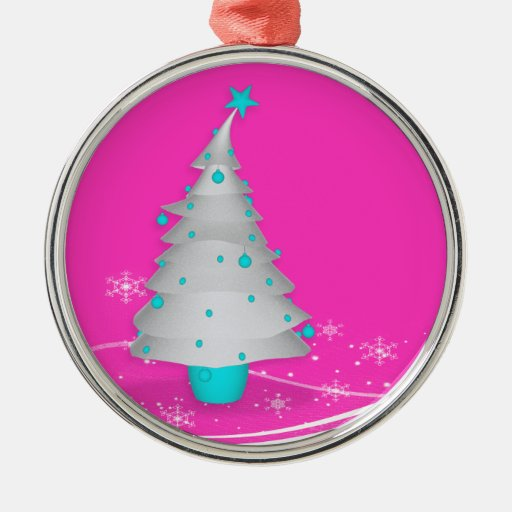 Contemporary Pink Background White Christmas Tree Christmas Ornaments