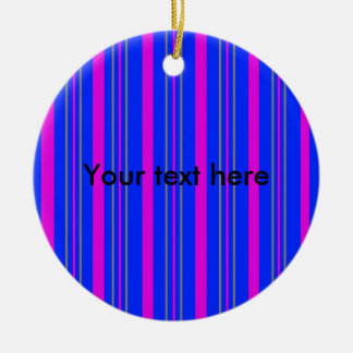 Contemporary pink gray stripes christmas tree ornaments