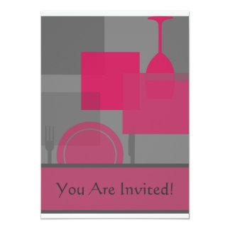 Contemporary Pink Grey Invitation