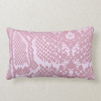 Contemporary Pink Pastel Snake Python Skin Lumbar Pillow