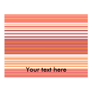 Contemporary pink white and orange stripes post card