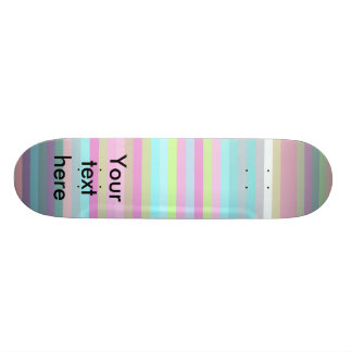 Contemporary pink yellow and baby blue stripes 20 cm skateboard deck