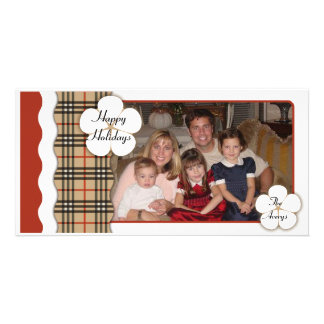 Contemporary Plaid Holiday Personalised Photo Card