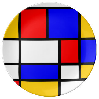Contemporary plate Mondrian style