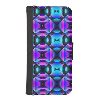Contemporary Purple and Teal Strange Checks iPhone SE/5/5s Wallet Case