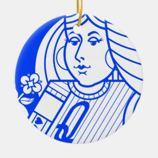 Contemporary Queen of Hearts Ornament (blue)