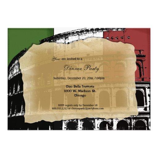 Contemporary Roman Coliseum Dinner Party Invite