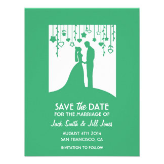 Contemporary Save the date - green bride groom Custom Invite