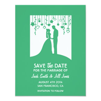 Contemporary Save the date - green bride & groom 11 Cm X 14 Cm Invitation Card