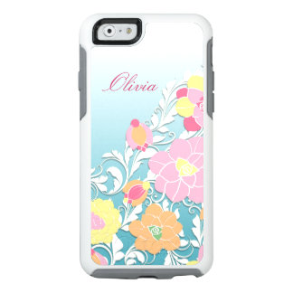Contemporary Sculpted Personalized Floral OtterBox iPhone 6/6s Case