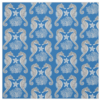 Contemporary Sea Life Seahorse Fabric
