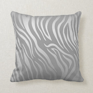 Contemporary  Silver Gray Zebra Animal Skin Throw Pillow