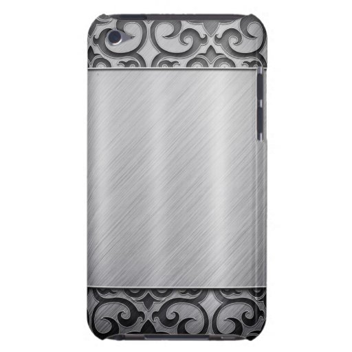 Contemporary Silver Metallic Swirl Case Barely There iPod Cover