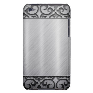 Contemporary Silver Metallic Swirl Case Barely There iPod Cases
