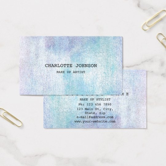 Contemporary Silver Pastel Painting Makeup Blue Business Card