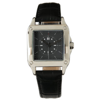 contemporary square seconds black leather watch