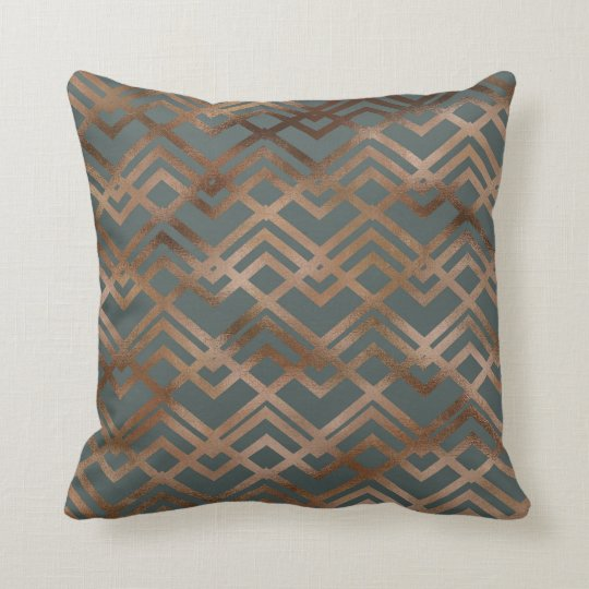 Contemporary Steel Blue , Copper Geometric Pattern Cushion