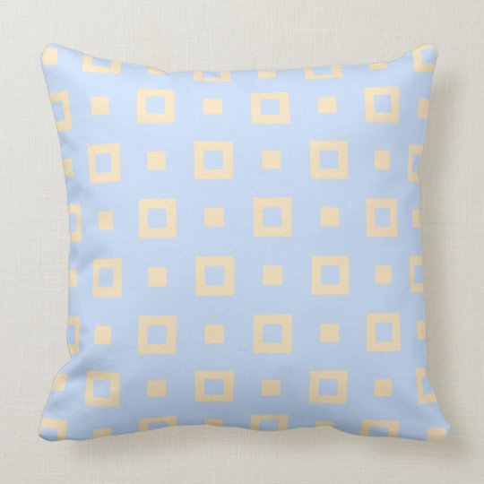 Contemporary Steel Blue Peach Square Pattern Cushion