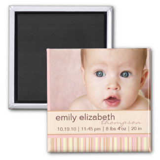 Contemporary Stripe Baby Photo Magnet