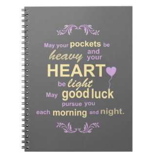 Contemporary Typography Irish Blessing in Gray Spiral Notebook