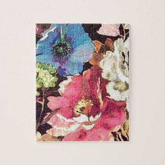 Contemporary Vintage Floral Print Design Jigsaw Puzzle