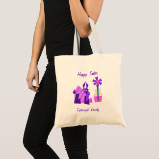 Contemporary Violet Bunny and Flower Tote Bag